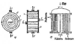 Рис. 1.4 типы спиральных теплообменников.     а-горизонтальный спиральный теплообменник,   б-вертикальный спиральный теплообменник.  1,2 - листы, 3-разделительная перегородка