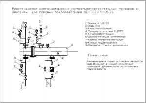 Принципиальная схема подключения пароводяных кожухотрубных скоростных подогревателей типа ПП1 и ПП2